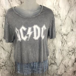 ACDC Acid Washed bleached graphic T-Shirt M